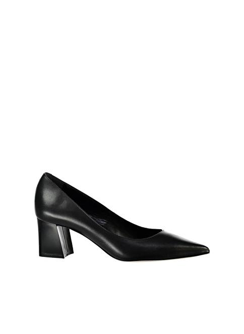 Elle Kalın Topuklu Deri Ayakkabı Siyah